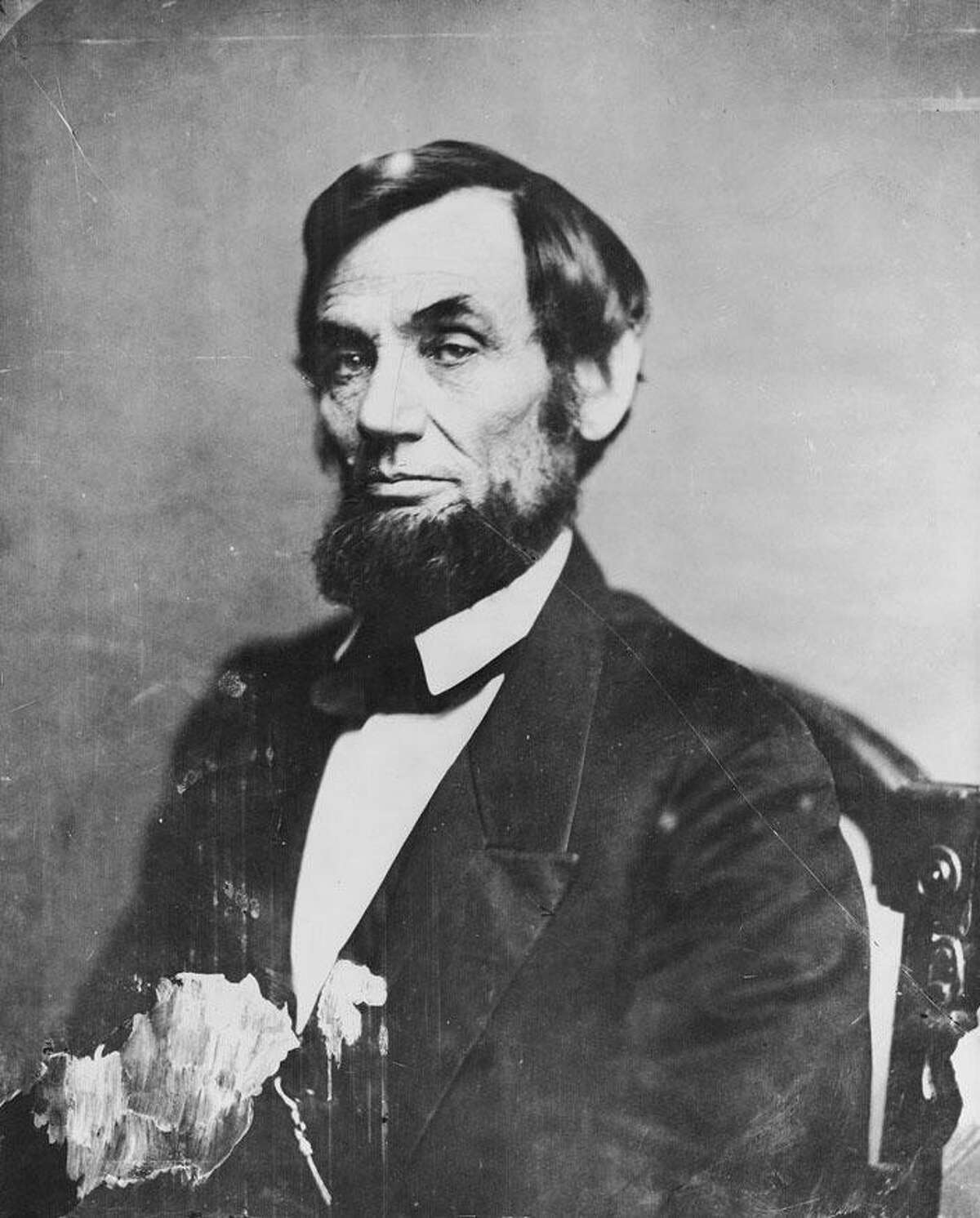 Photograph by Matthew Brady of President Lincoln in the Brady Washington gallery from May 1861.