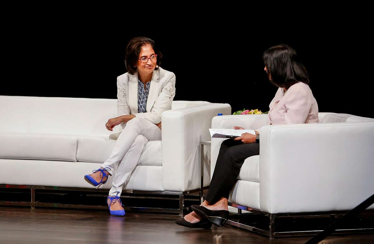 Padmasree Warrior (left), chief of NIO, an autonomous electric car company, speaks with Y Combinator partner Anu Hariharan during the Female Founders Conference in San Francisco.