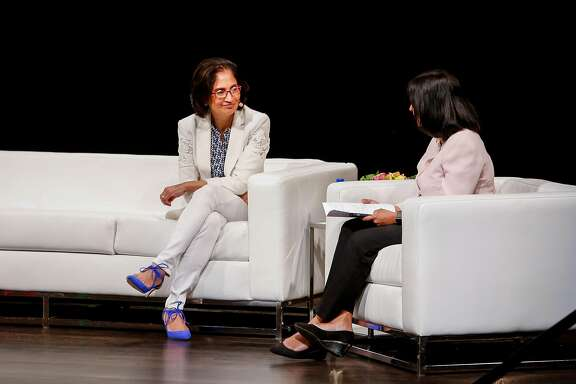 Padmasree Warrior, left, CEO and CDO of NIO USA, speaks with Anu Hariharan, right, during the Y Combinator�s 4th annual Female Founders Conference at Herbst Theater in San Francisco on Thursday, June 29, 2017.