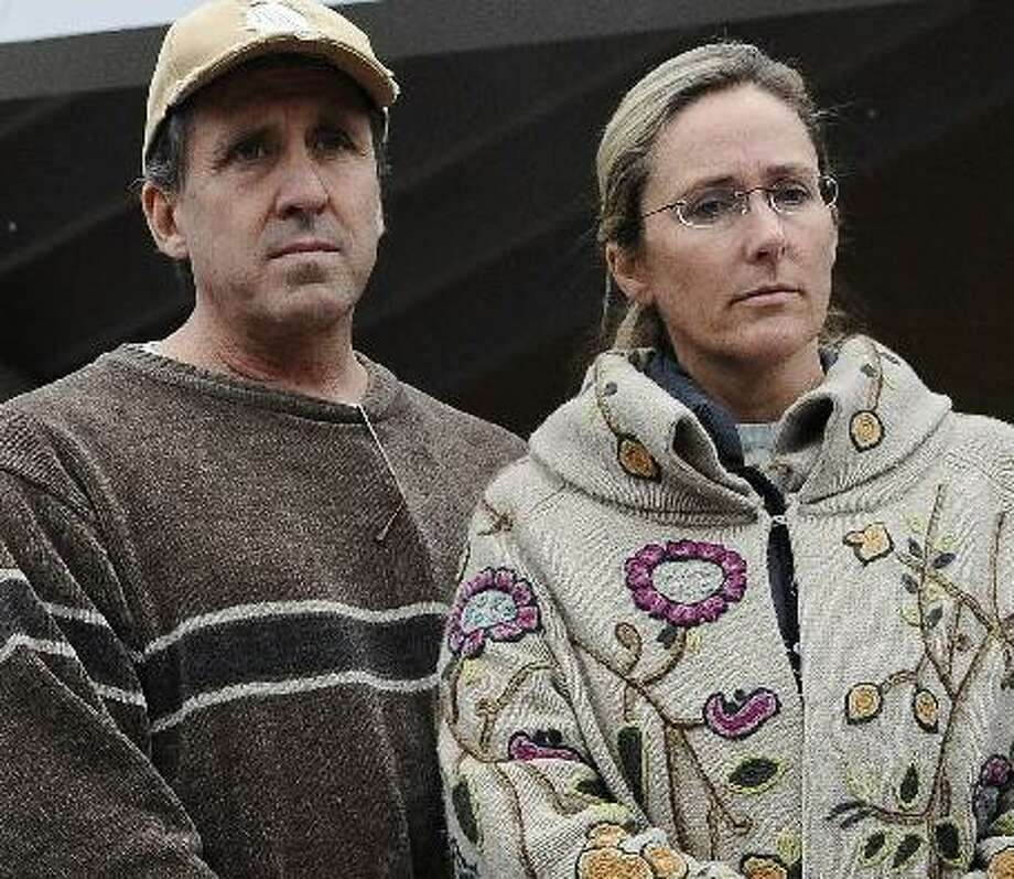 Neil Heslin and Scarlett Lewis, parents of slain Sandy Hook first-grader Jesse Lewis are suing Newtown and the Newtown Board of Education. Photo: AP Photo / Jessica Hill