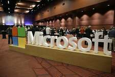 The Microsoft logo is pictured at the Microsoft Annual Shareholders Meeting in Bellevue, Washington on November 30, 2016.