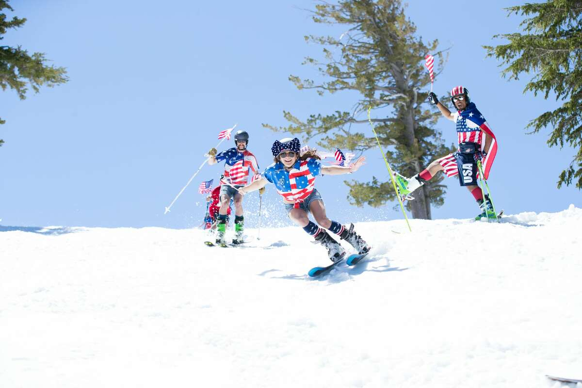 Visitors to Squaw Valley experienced the unusual pairing of warm weather and ideal snow conditions, as they took to the slopes in shorts and t-shirts.