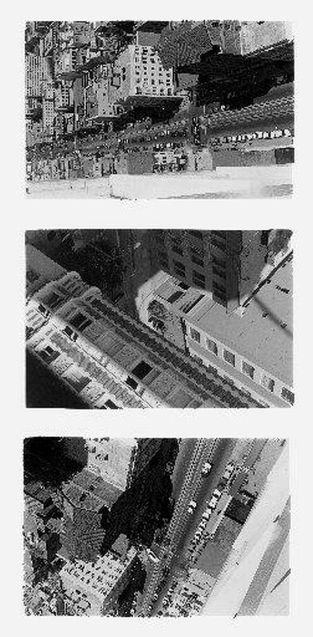"""""""Side/Walk/Shuttle"""" was shot from a glass elevator at the Fairmont Hotel. Photo: By Carlos Valladares, Courtesy Of Berkeley Art Museum, Pacific Film Archive"""