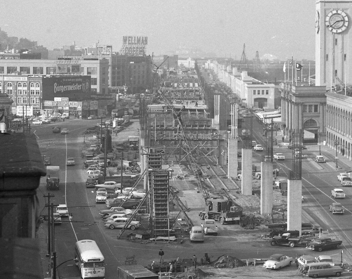 The building of the Embarcadero Freeway, January 1958