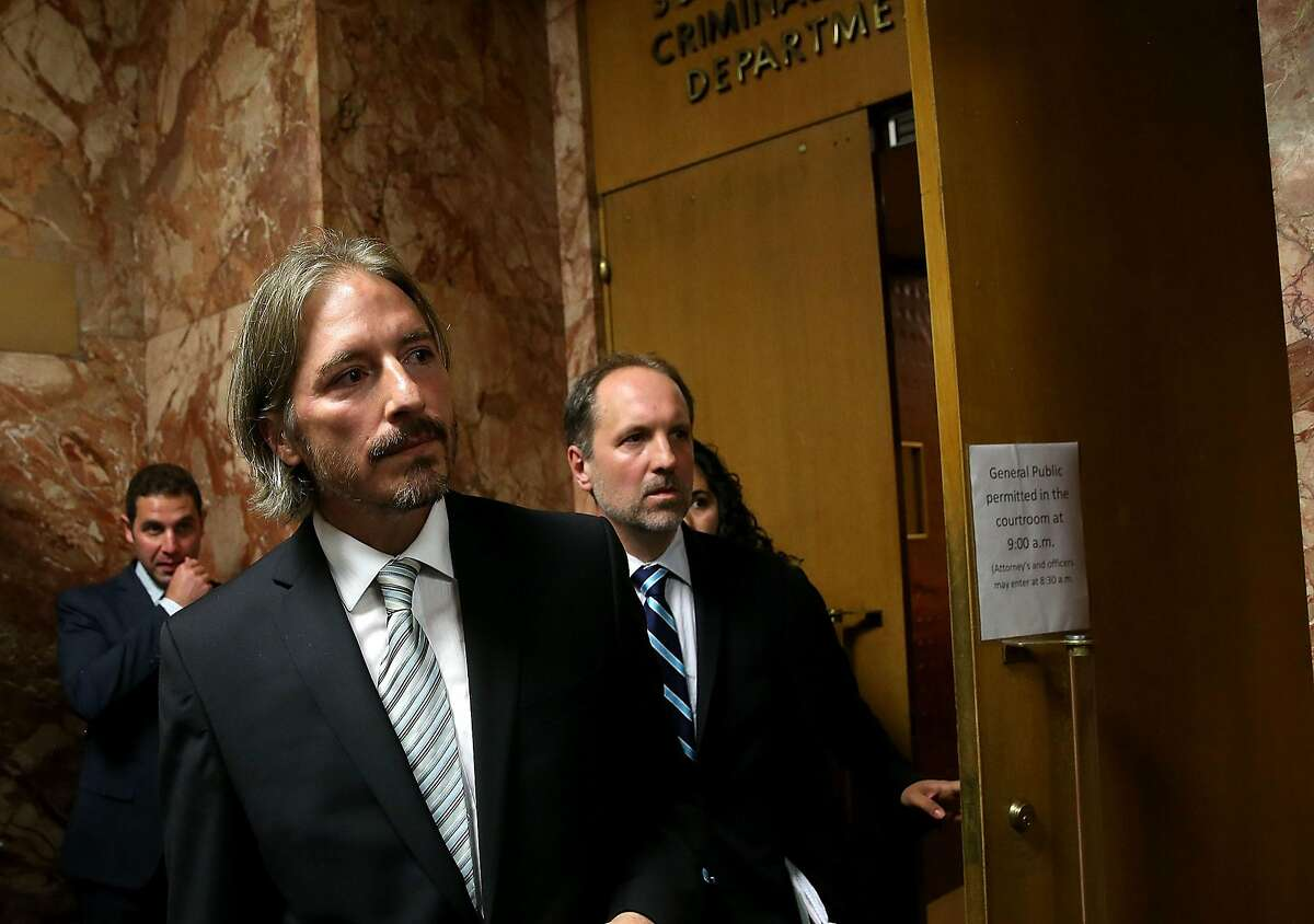 SAN FRANCISCO, CA - JULY 07: San Francisco public defender chief attorney Matt Gonzalez (L) leaves court after the arraignment for Francisco Sanchez on July 7, 2015 in San Francisco, California. Francisco Sanchez pleaded not guilty to charges that he shot and killed 32 year-old Kathryn Steinle as she walked on Pier 14 in San Francisco with her father last week. (Photo by Justin Sullivan/Getty Images)