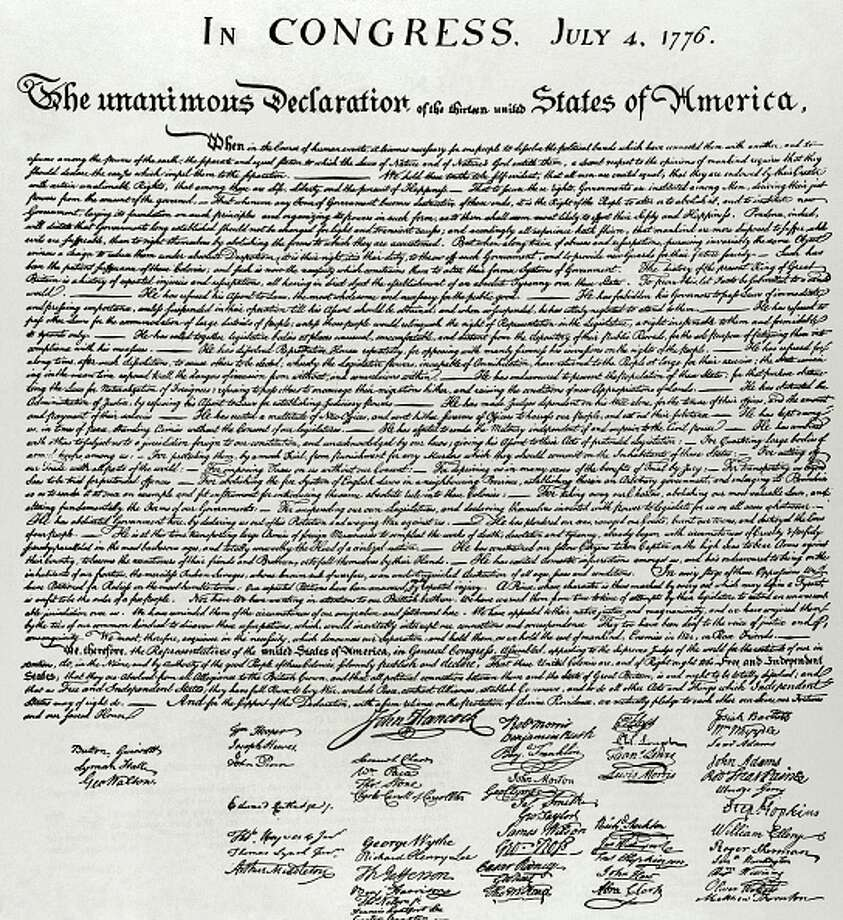 The Declaration of Independence of United States of America. July 4, 1776. Authors: Thomas Jefferson, John Adams and Benjamin Franklin. Facsimile. 19th century. (Photo by: PHAS/UIG via Getty Images)>>Here is a look back at historic July 4th photos... Photo: PHAS/UIG Via Getty Images
