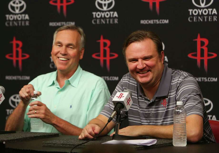 Rockets head coach Mike D'Antoni and general manager Daryl Morey joke as they talk about the series of trades made to bring Chris Paul to the Rockets from the Clippers during a press conference at Toyota Center, Wednesday, June 28, 2017, in Houston. (Mark Mulligan / Houston Chronicle) Photo: Mark Mulligan, Staff Photographer / 2017 Mark Mulligan / Houston Chronicle