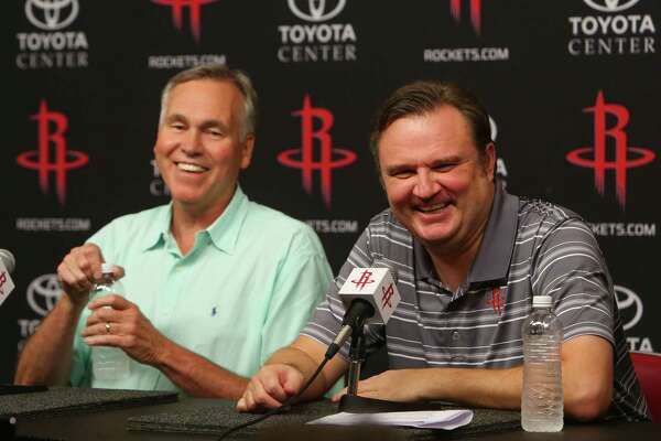 Rockets head coach Mike D'Antoni and general manager Daryl Morey joke as they talk about the series of trades made to bring Chris Paul to the Rockets from the Clippers during a press conference at Toyota Center, Wednesday, June 28, 2017, in Houston. (Mark Mulligan / Houston Chronicle)