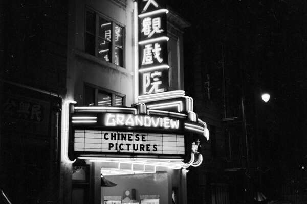 circa 1955:  The Grandview Theatre in Chinatown, San Francisco, which shows Chinese films imported from Hong Kong.  (Photo by Orlando /Three Lions/Getty Images)