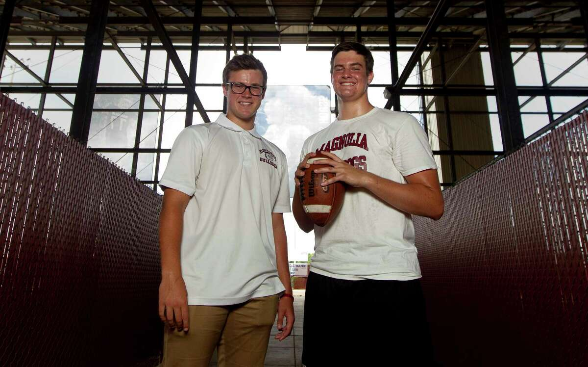 Magnolia snapper Justin Mader, right, and punter Reid Bauer are seen during a portrait session at Magnolia High School, Thursday, June 29, 2017, in Magnolia.
