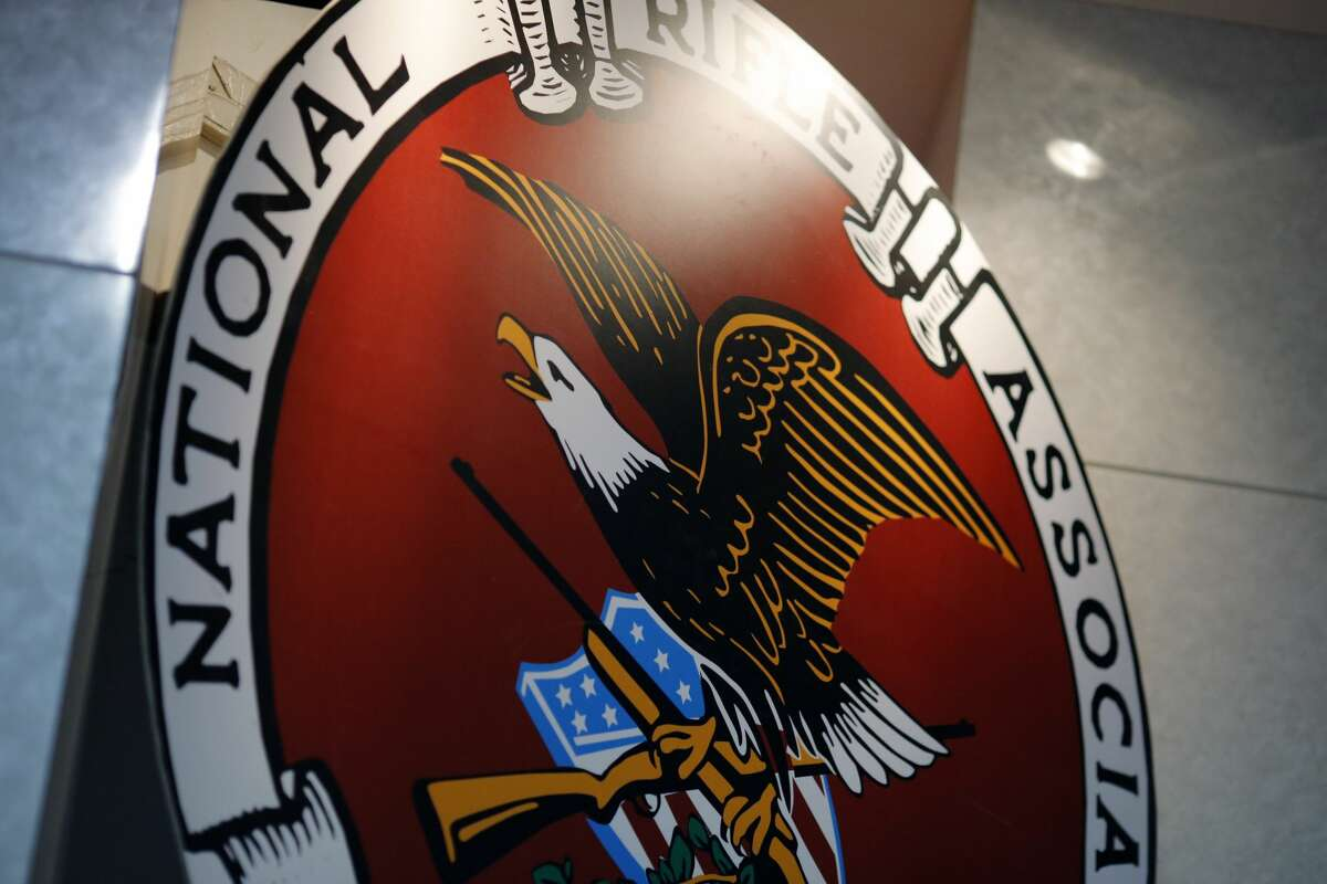 The logo of the National Rifle Association is seen at an outdoor sports trade show on February 10, 2017 in Harrisburg, Pennsylvania.