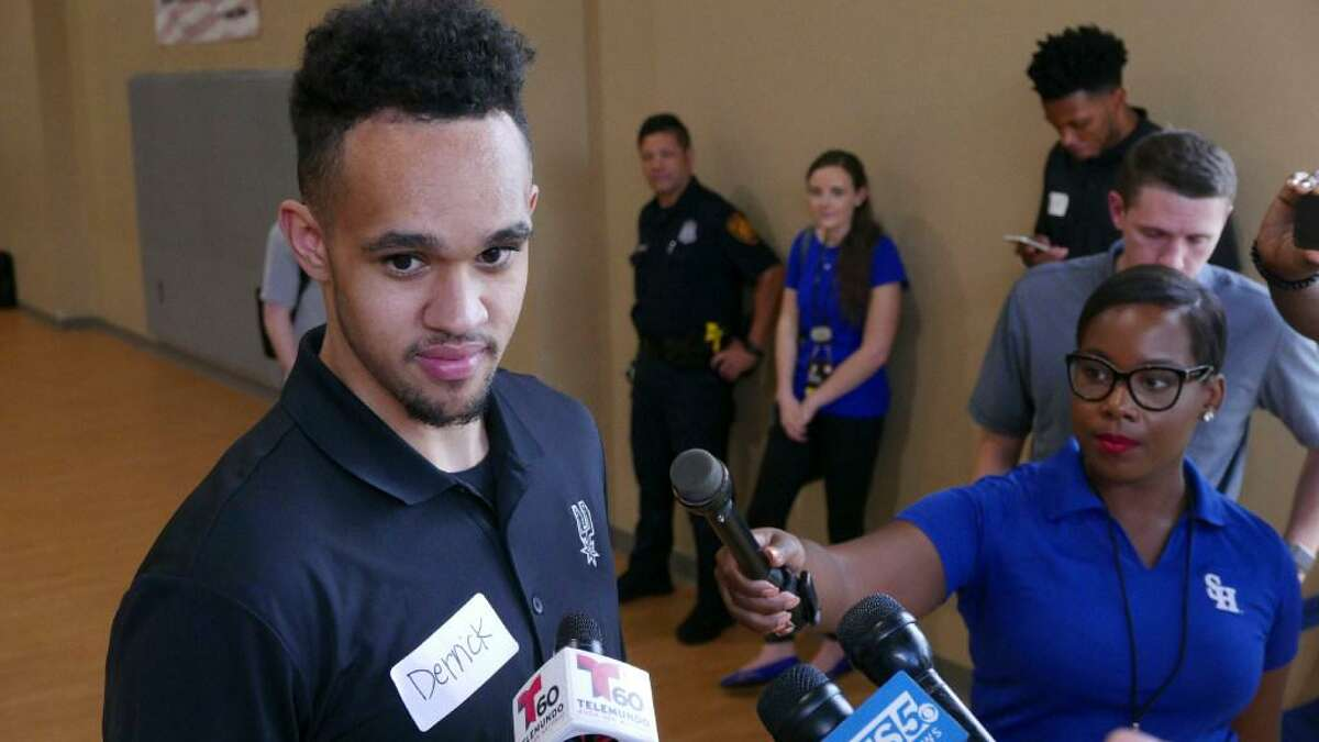 San Antonio Spurs 2017 draft pick Derrick White speaks with the press after participating in a South Texas Regional Adaptive & Paralympic Sports wheelchair basketball clinic at Morgan's Wonderland on Wednesday, June 28, 2017.