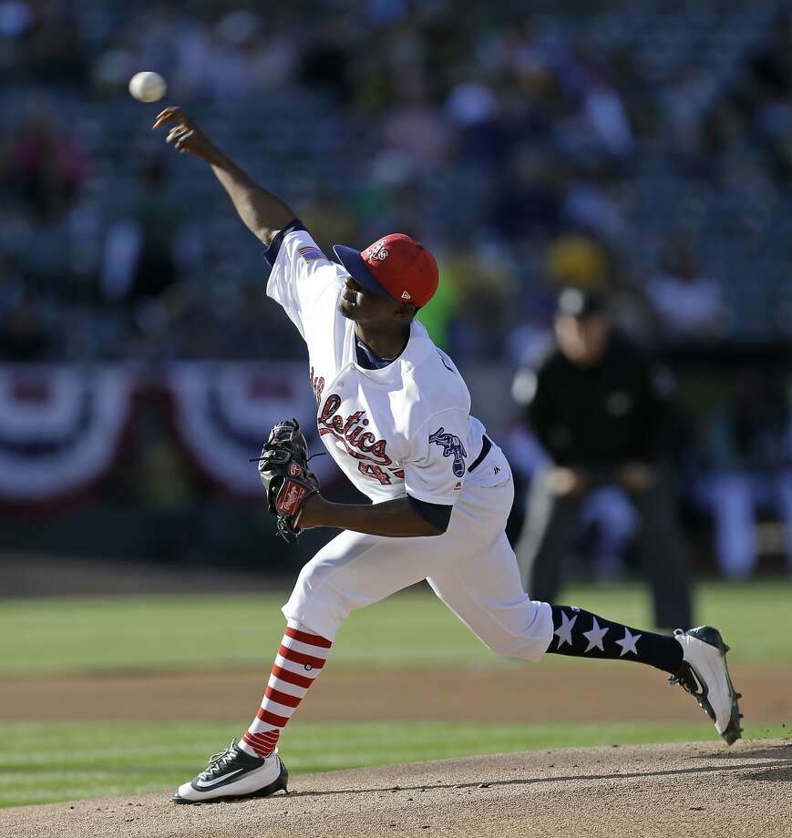 Oakland Athletics pitcher Jharel Cotton works against the Chicago White Sox in the first inning of a baseball game Monday, July 3, 2017, in Oakland, Calif. (AP Photo/Ben Margot) Photo: Ben Margot, Associated Press