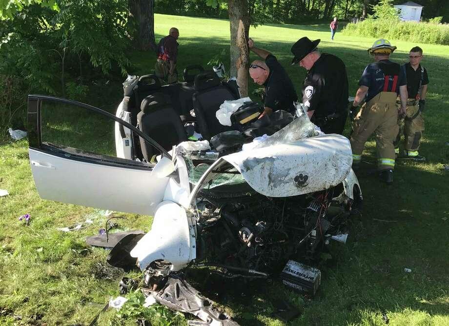 Columbia County deputies investigate a crash in Kinderhook on July 3.