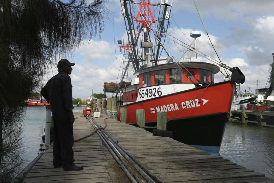 Shrimper Carlos Zavala, 60, watches as maintenance work is done on a shrimp trawler docked at a marina in Brownsville. Photo: Jerry Lara / San Antonio Express-News / © 2017 San Antonio Express-News