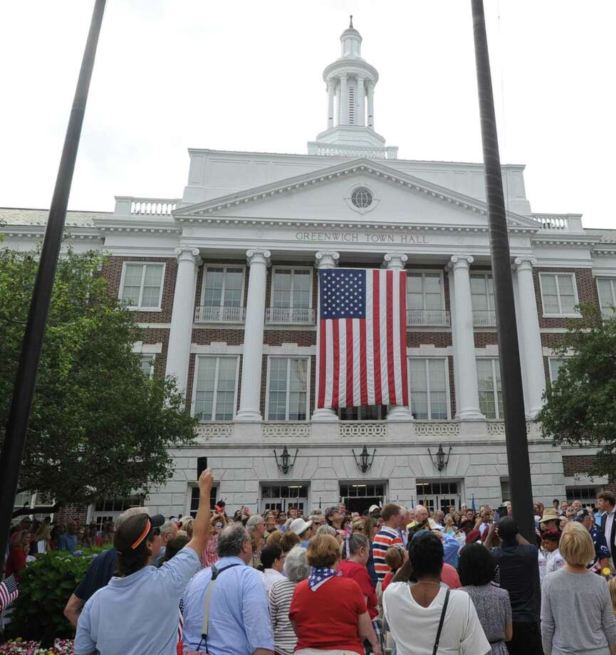 The Fourth of July ceremony at Greenwich Town Hall, Greenwich, Conn., Tuesday morning, July 4th, 2017. Photo: Bob Luckey Jr. / Hearst Connecticut Media / Greenwich Time