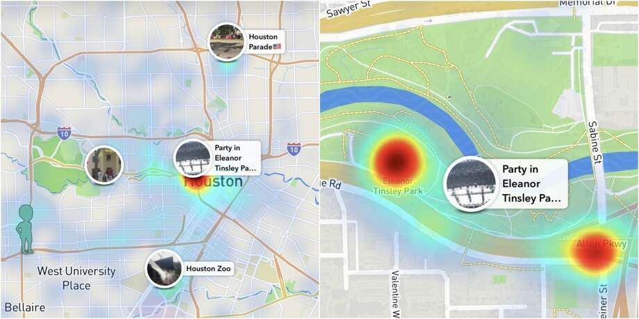 Snapchat's new Snap Map feature puts onto a map sites where many users are posting from the app.