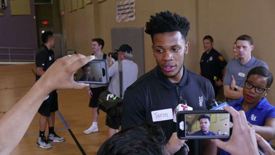 Spurs 2017 draft pick Jaron Blossomgame meets the press after a South Texas Regional Adaptive & Paralympic Sports wheelchair basketball clinic at Morgan's Wonderland on June 28, 2017. Photo: Billy Calzada /San Antonio Express-News / San Antonio Express-News