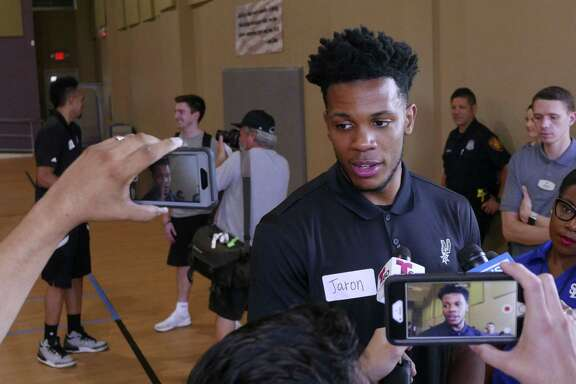 Spurs 2017 draft pick Jaron Blossomgame meets the press after a South Texas Regional Adaptive & Paralympic Sports wheelchair basketball clinic at Morgan's Wonderland on June 28, 2017.