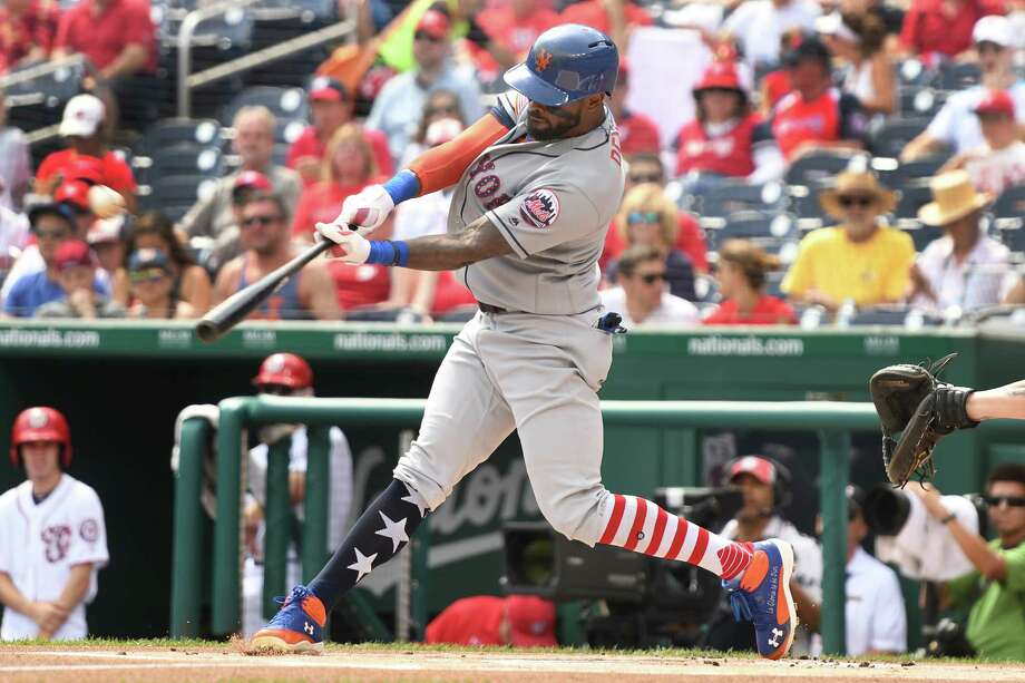 WASHINGTON, DC - JULY 04:  Jose Reyes #7 of the New York Mets hits a lead off home run in the first inning during a baseball game against the Washington Nationals at Nationals Park on July 4, 2017 in Washington, DC.  (Photo by Mitchell Layton/Getty Images) ORG XMIT: 700011504 Photo: Mitchell Layton / 2017 Getty Images