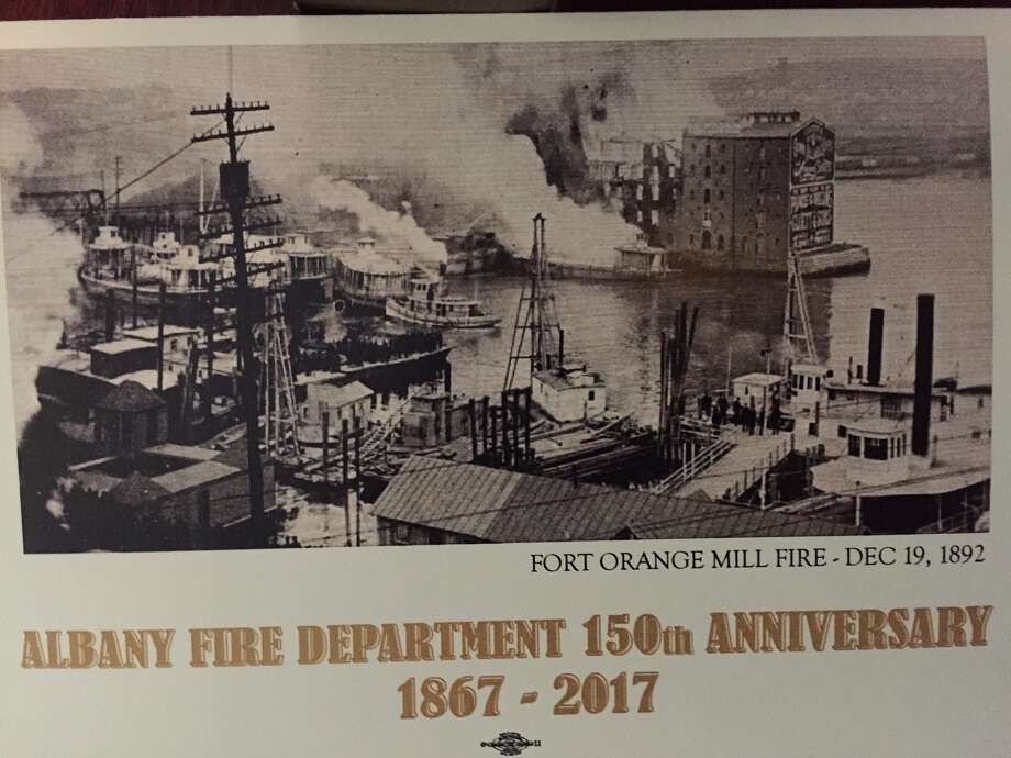 Fort Orange Mill Fire of Dec. 19, 1892 is depicted on the gala fundraiser invitation.