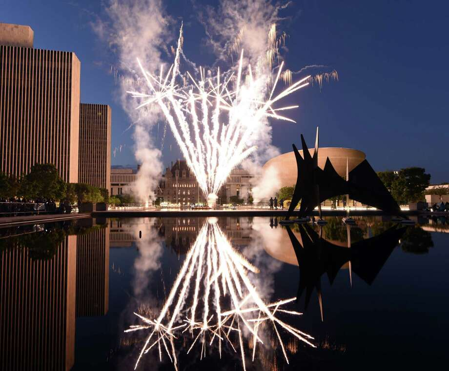 Fireworks fill the sky above Empire State Plaza during the 42nd annual New York State Independence Day celebration on Tuesday, July 4, 2017, in Albany, N.Y. (Will Waldron/Times Union) Photo: Will Waldron / 20040971A