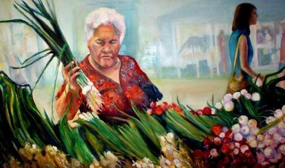 """Fresh Scallions"", Oil on Board  by Barbara Mathis. Photo: Barbara Mathis"