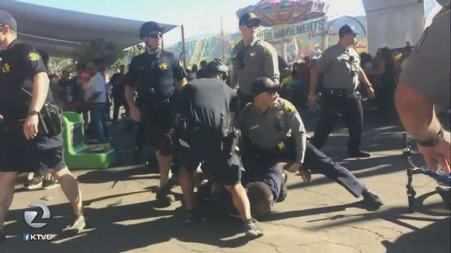 This still image was taken from KTVU video of a fight at the Alameda County Fair. Photo: KTVU