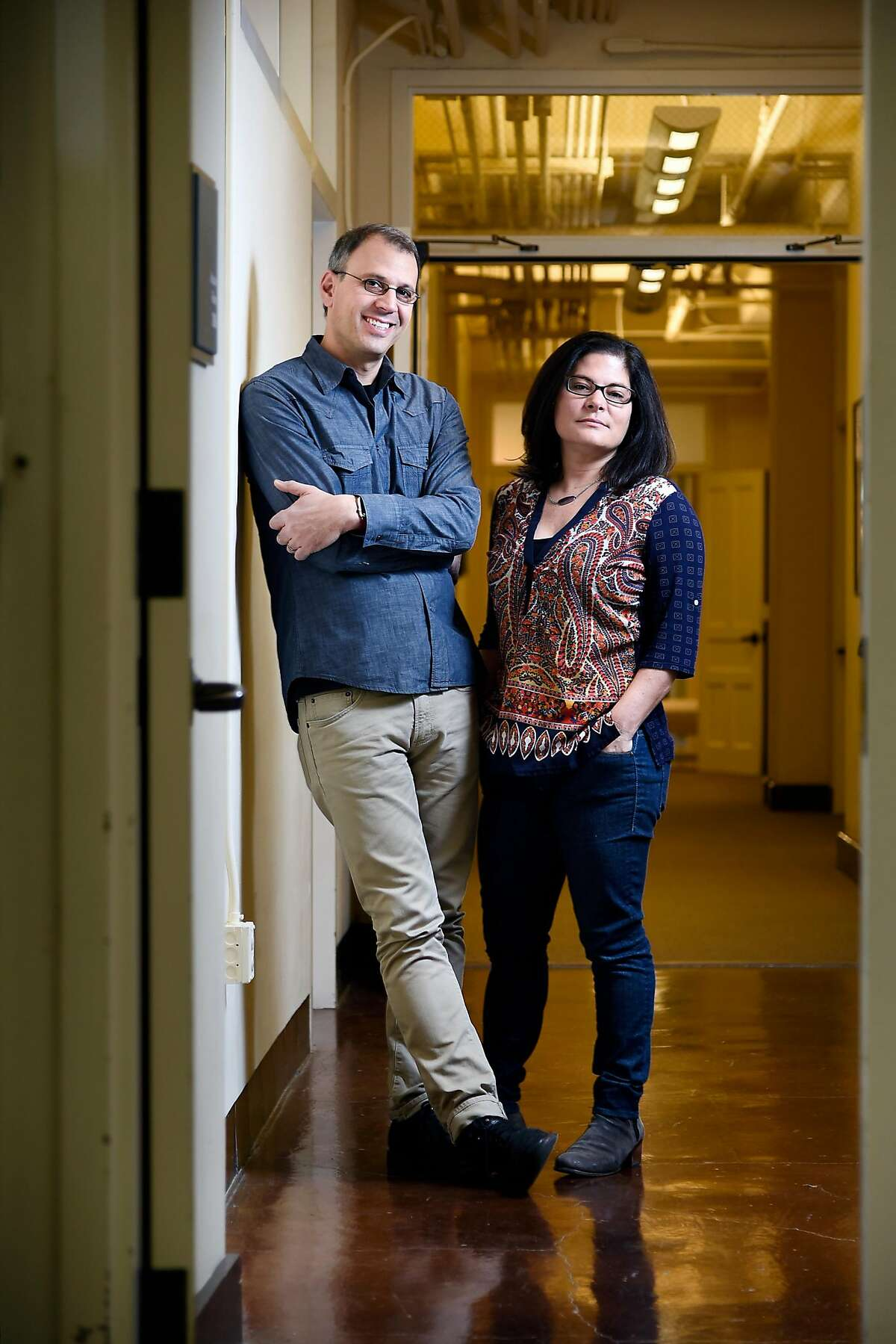 Husband and wife directors Jon Shenk and Bonni Cohen at their studio offices in San Francisco in 2015.