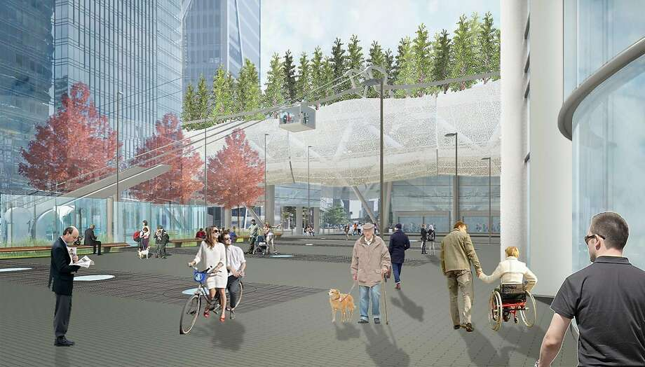 The plaza that will connect the Salesforce Tower to the new Transbay Transit Center in S.F. will be almost entirely open. Photo: Mark Cavagnero Associates
