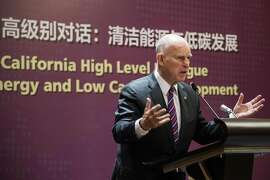 In this picture taken on June 8, 2017, California Governor Jerry Brown speaks during an energy policy conference in Beijing. China treated a US governor to a red carpet reception this week, while President Donald Trump's energy chief received a low-key greeting, a signal that Beijing is ready to go around the White House in the battle against climate change. / AFP PHOTO / FRED DUFOUR / To go with  China US politics environment climate, Focus by Allison JacksonFRED DUFOUR/AFP/Getty Images