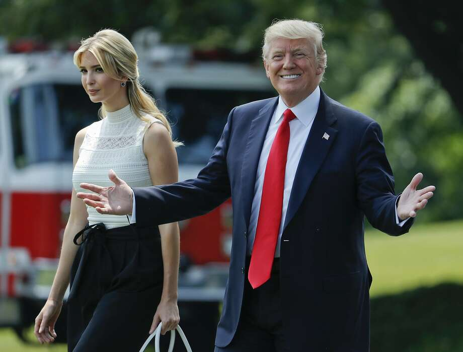President Donald Trump smiles as he walks with his daughter Ivanka Trump across the South Lawn of the White House in Washington, Tuesday, June 13, 2017, before boarding Marine One helicopter for a quick trip to nearby Andrews Air Force Base. They are traveling to Milwaukee, Wis., to meet with people dealing with health care. (AP Photo/Pablo Martinez Monsivais) Photo: Pablo Martinez Monsivais, Associated Press