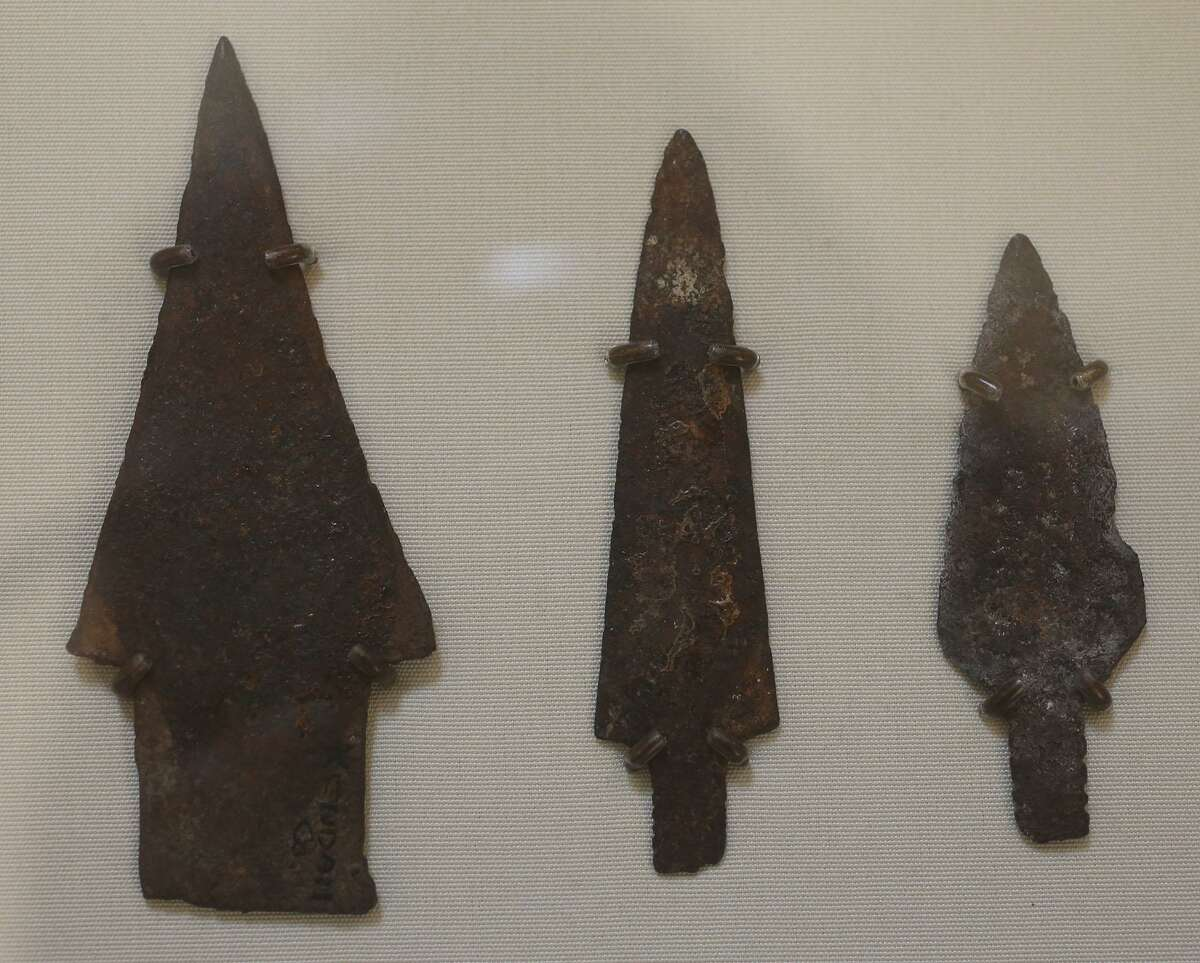 Metal spear points on display at the Witte Museum's People of the Pecos Gallery. American Indians started making arrow and spear points from metal around 1750.