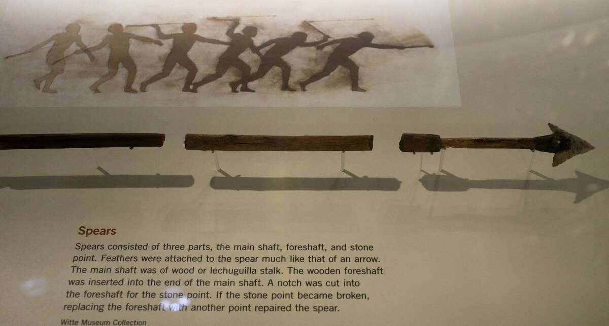 A spear with a stone point on display at the Witte Museum's People of the Pecos Gallery. Most stone points found are actually spear points rather than arrowheads.