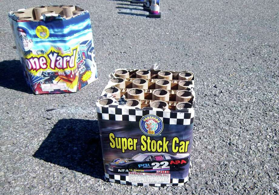 Pat Smith, president of the Mont Pleasant Neighborhood Association, found firework waste left at the Michigan Avenue tennis courts last weekend in Schenectady, N.Y. (Courtesy Pat Smith)