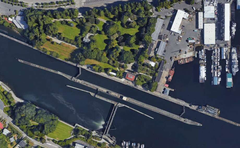 The Ballard locks as seen on Google Earth. Photo: Google Earth