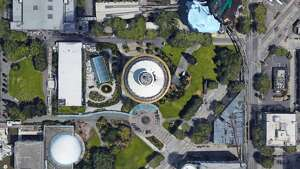The Space Needle as seen on Google Earth.
