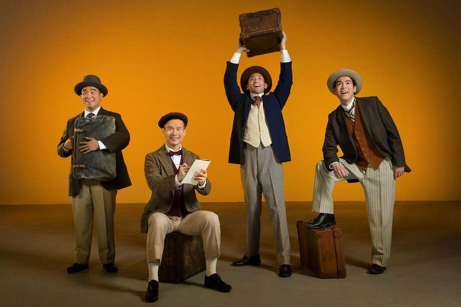 """From left: Frank (Phil Wong), Henry (James Seol), Charlie (Hansel Tan), and Fred (Sean Fenton) arrive in San Francisco in TheatreWorks' """"The Four Immigrants: An American Musical Manga."""" Photo: Kevin Berne, TheatreWorks"""