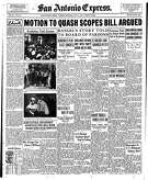 "The story on the Scopes trial on the front page of the July 14th, 1925 Daily Express looked like an inverted horseshoe. The headline, ""Motion to quash Scopes bill argued"" ran across the top of the page, with three courtroom photos running down one side of the page and the story running down the other – and three unrelated stories fit in between."