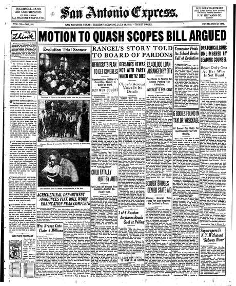 """The story on the Scopes trial on the front page of the July 14th, 1925 Daily Express looked like an inverted horseshoe. The headline, """"Motion to quash Scopes bill argued"""" ran across the top of the page, with three courtroom photos running down one side of the page and the story running down the other – and three unrelated stories fit in between. Photo: From Digitized Microfilm / From Digitized Microfilm"""