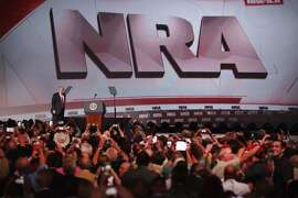 ATLANTA, GA - APRIL 28: President Donald Trump is introduced at the NRA-ILA's Leadership Forum at the 146th NRA Annual Meetings & Exhibits on April 28, 2017 in Atlanta, Georgia. The convention is the largest annual gathering for the NRA's more than 5 million members. Trump is the first president to address the annual meetings since Ronald Reagan. (Photo by Scott Olson/Getty Images)