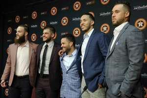 Dallas Keuchel (from left), Lance McCullers Jr., Jose Altuve, Carlos Correa and George Springer will represent the Astros at the MLB All-Star Game.