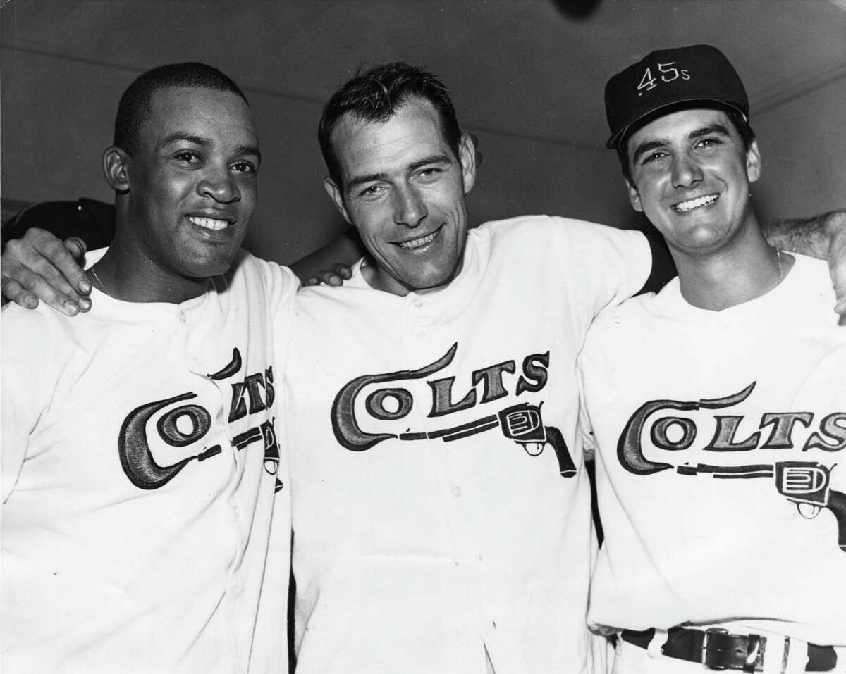 Houston Colt 45s The Houston Sports Association had a name-the-team contest that got whittled down to Spurs, Ravens and Colts. William Neder ended up winning the contest when he suggested changing the Colts to the Colt .45s, writing