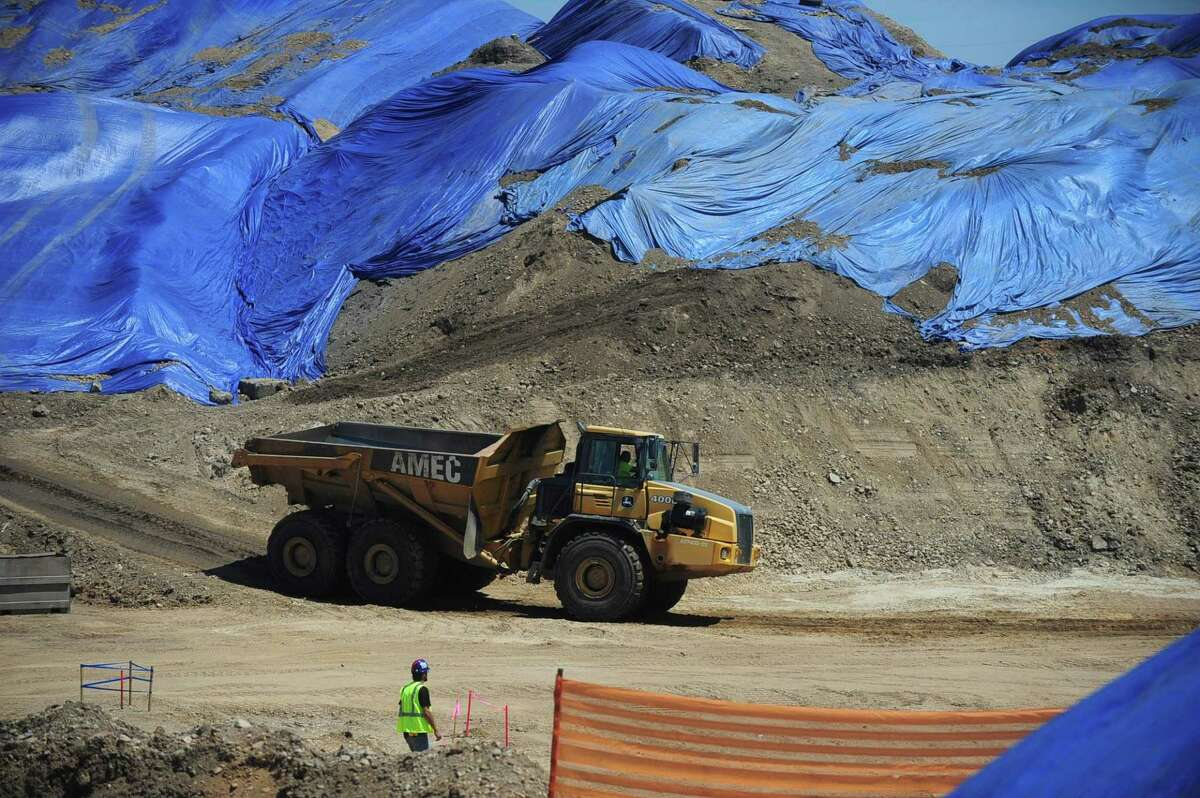 General Growth Properties' The SoNo Collection construction site Wednesday, July 5, off West Avenue, North Water Street and Interstate 95 in Norwalk. GGP on Wednesday obtained nearly $1 million in superstructure permits from the Norwalk Building Department to begin vertical construction on The SoNo Collection mall. Major excavation work continues on the dozen-acre development site with earth heaped high and being trucked away to create space for the foundation and below-grade parking levels.