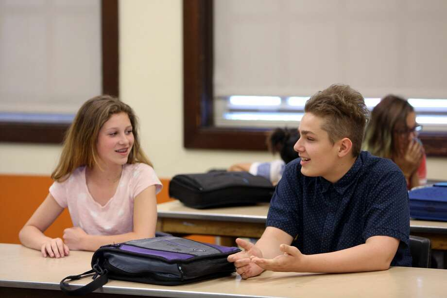 SailorHank Payne talks with a classmate on one of the final days of the school year, June 2, 2017. (Genna Martin, seattlepi.com) Photo: GENNA MARTIN/SEATTLEPI.COM