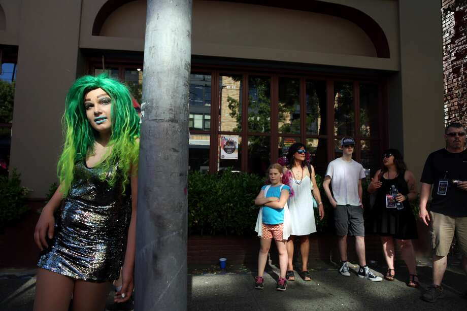 RainbowGore Cake waits to compete in a drag competition at Capitol Hill Pridefest hosted by The Boulet Brothers, June 24, 2017. (Genna Martin, seattlepi.com) Photo: GENNA MARTIN/SEATTLEPI.COM