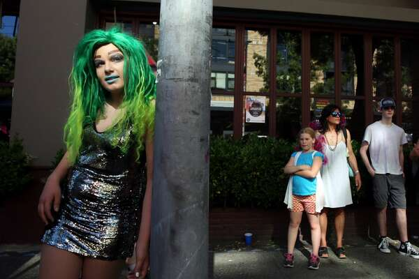 RainbowGore Cake waits to compete in a drag competition at Capitol Hill Pridefest hosted by The Boulet Brothers, June 24, 2017. (Genna Martin, seattlepi.com)