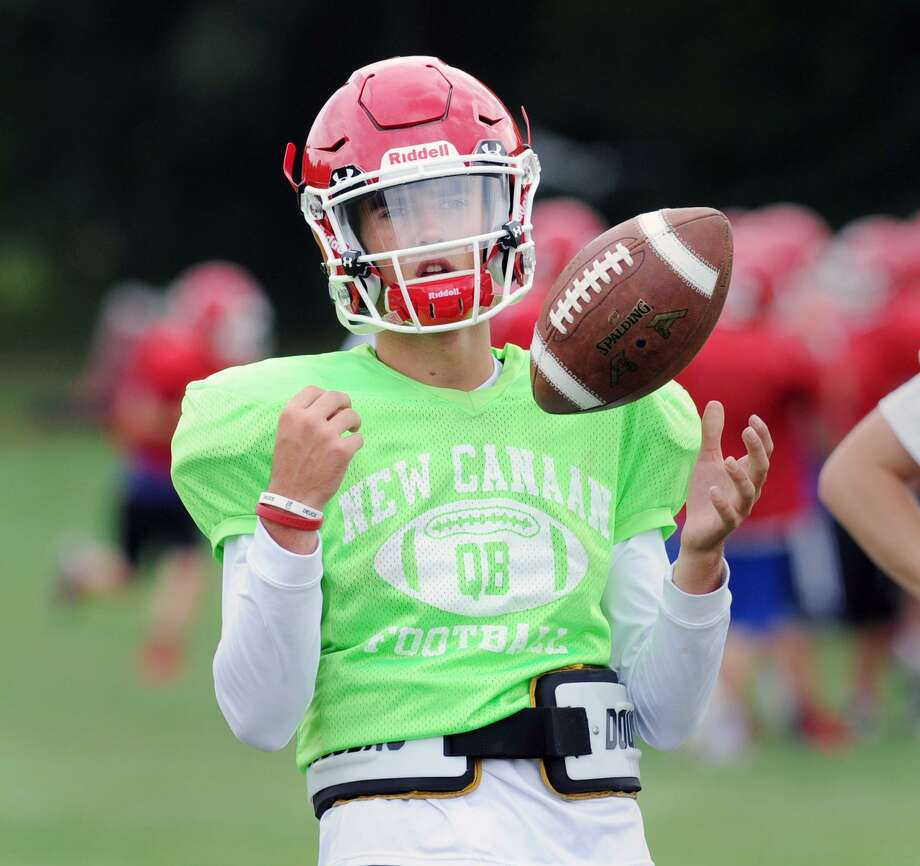 New Canaan High School quarterback Drew Pyne, a freshman, during New Canaan High School football practice at the school in New Canaan, Conn., Thursday, Sept. 1, 2016. Photo: Bob Luckey Jr. / Hearst Connecticut Media / Greenwich Time