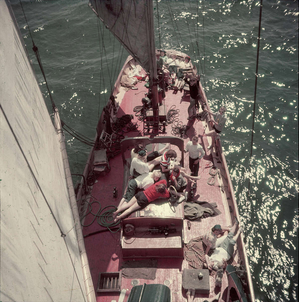 View, from the mast of a sailboat, of a group of teenagers as they lounge on the boat's deck, Seattle, Washington, 1950. (Photo by Loomis Dean/Time & Life Pictures/Getty Images)