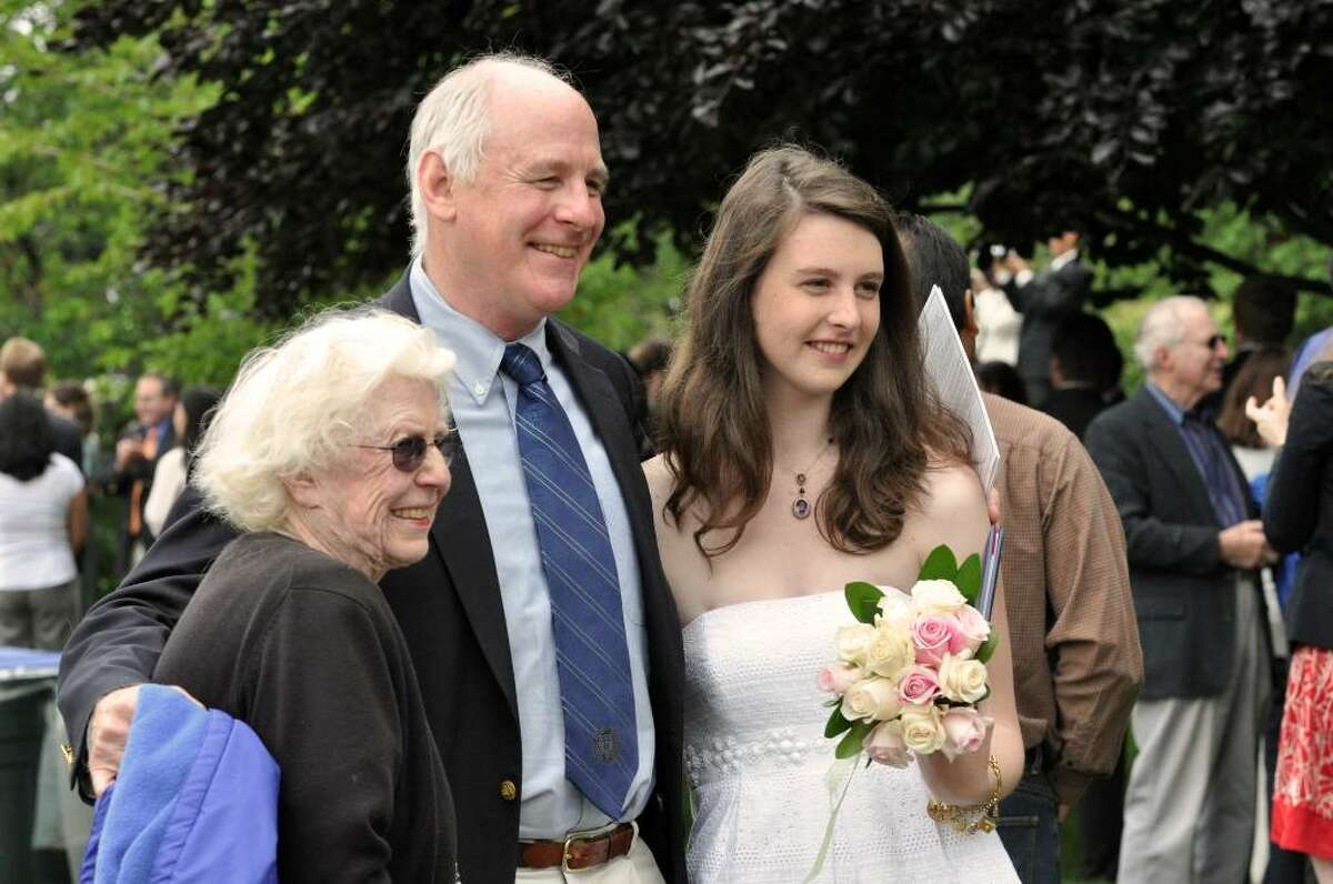 Graduate Dorothy Vickery, of Westport, far right, poses for a photograph with her father, Howard and grandmother, Dorothy Vickery, of Washington D.C. following the Greens Farms Academy eighty-fifth commencement on Thursday, June 10, 2010.
